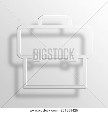 Briefcase 3D rendering Paper Icon Symbol Business Concept