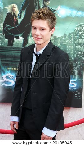 """NEW YORK - JULY 6: Actor Xavier Samuel and Shermine Sharivar attend the premiere of """"The Sorcerer's Apprentice"""" at the New Amsterdam Theatre on July 6, 2010 in New York City."""