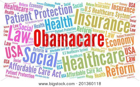Obamacare word cloud illustration with a white background