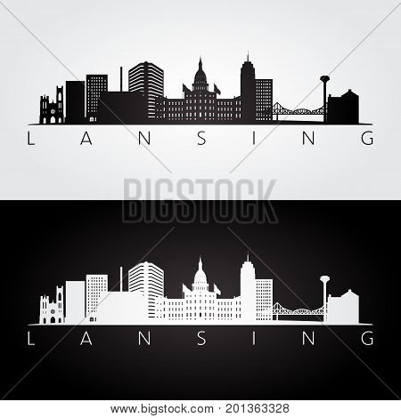 Lansing USA skyline and landmarks silhouette black and white design vector illustration.