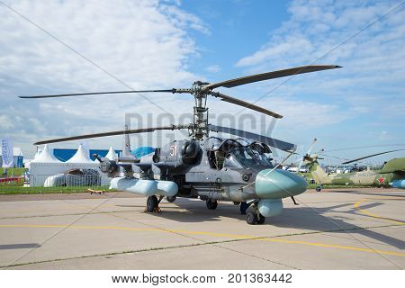ZHUKOVSKY, RUSSIA - JULY 20, 2017: Russian attack helicopter Ka-52
