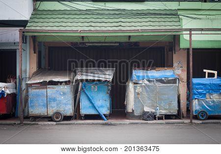 closed store at sidewalk at jogja yogyakarta indonesia java