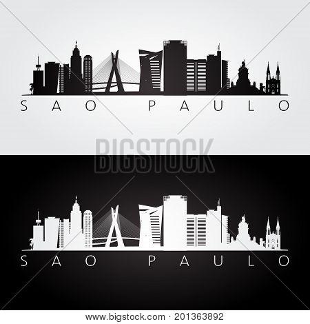 Sao Paulo skyline and landmarks silhouette black and white design vector illustration.