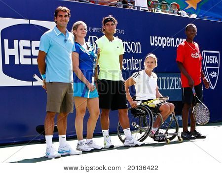 FLUSHING, NY - AUGUST 28: Roger Federer, Kim Clijsters, Rafael Nadal, Esther Vergeer attend Arthur Ashe Kids Day at Billie Jean King National Tennis Center on August 28, 2010 in Flushing, New York.