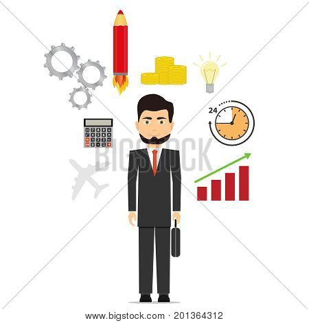 Businessman pondering the idea, the idea for business, the startup concept. Flat design, vector illustration, vector.