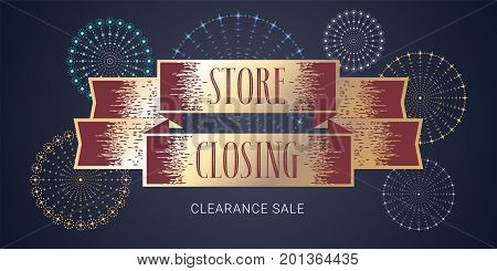 Store closing clearance sale vector illustration background. Template nonstandard banner flyer for store closing discount