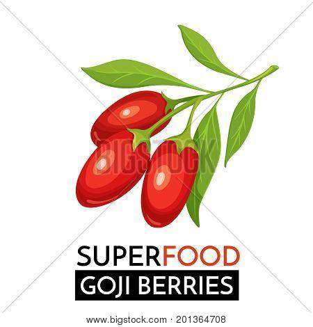 Goji berries vector icon. Healthy detox natural product superfood illustration for design market menu superfood .