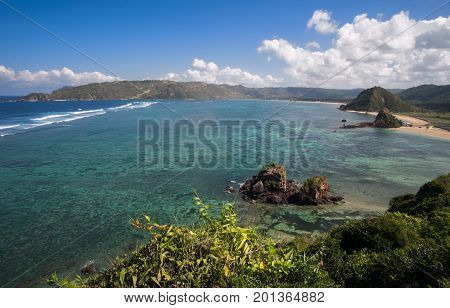 Panoramic landscape of tropical island Kuta beach Lombok West Nusa Tenggara Indonesia