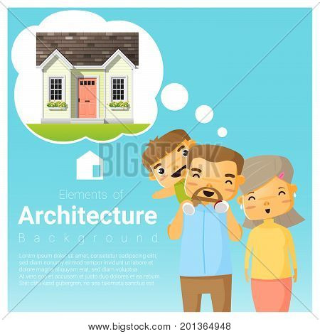 Happy family and dream house background vector illustration