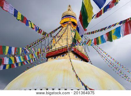 Boudhanath Stupa buddhist temple Kathmandu valley Nepal