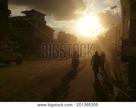 Dust of Kathmandu, dirty street in Kathmandu, Nepal