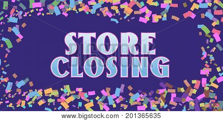 Store closing vector illustration with abstract background. Template banner flyer for special discount and price reduction during store closing clearance sale