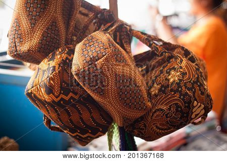 a traditional batik pattern bag for women on malioboro street market java