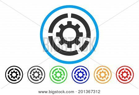 Circle Diagram Configuration Gear vector rounded icon. Image style is a flat gray icon symbol inside a blue circle. Bonus color versions are grey, black, blue, green, red, orange.