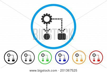 Flow Chart Configuration vector rounded icon. Image style is a flat gray icon symbol inside a blue circle. Bonus color variants are gray, black, blue, green, red, orange.