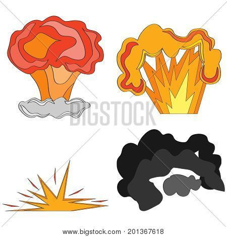 Comic explosion, animation explosion, bomb explosion. Flat design, vector illustration, vector