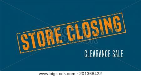 Store closing vector illustration background with post stamp. Banner flyer for clearance sale or special prices in the shop