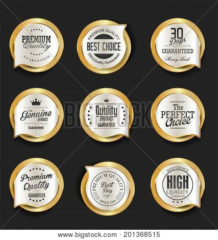 Modern Design Gold And Silver Sale Badges Collection 3.eps