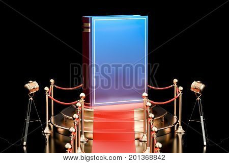 Book on podium presentation of new book concept. 3D rendering isolated on white background