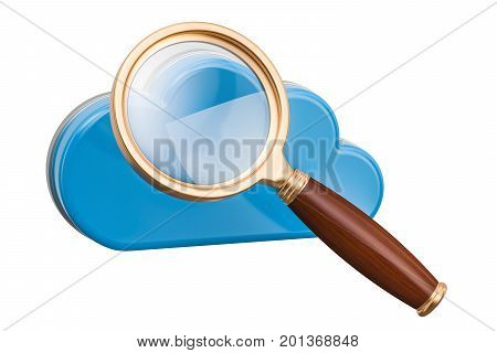 Computer cloud with magnifier. Search in cloud computing 3D rendering isolated on white background