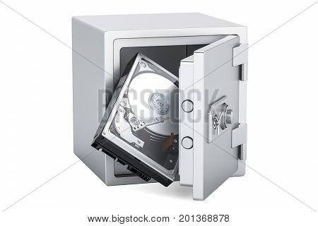 Hard Disk Drive HDD inside safe box protection concept. 3D rendering isolated on white background