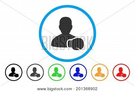 Boxing Sportsman vector rounded icon. Image style is a flat gray icon symbol inside a blue circle. Bonus color variants are gray, black, blue, green, red, orange.