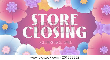 Store closing vector illustration background with seasn backdrop. Horizontal banner flyer for store shutting down clearance sale