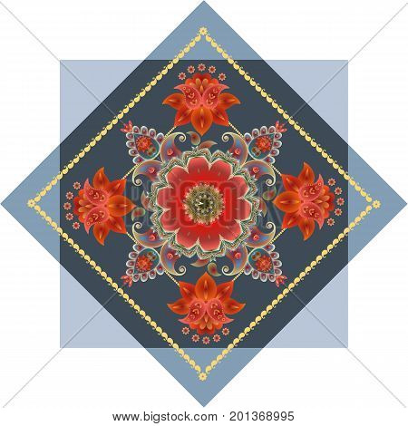 Lovely tablecloth with medallion from paisley pattern and fairy red flowers. Vector illustration. Ethnic style.