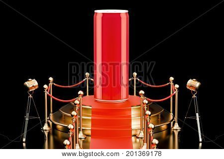Podium with metallic drink can presentation of new beverage concept. 3D rendering