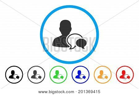 Forum Moderator vector rounded icon. Image style is a flat gray icon symbol inside a blue circle. Additional color versions are gray, black, blue, green, red, orange.