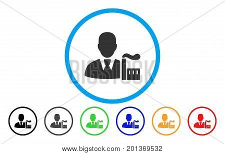 Industry Capitalist vector rounded icon. Image style is a flat gray icon symbol inside a blue circle. Additional color variants are gray, black, blue, green, red, orange.