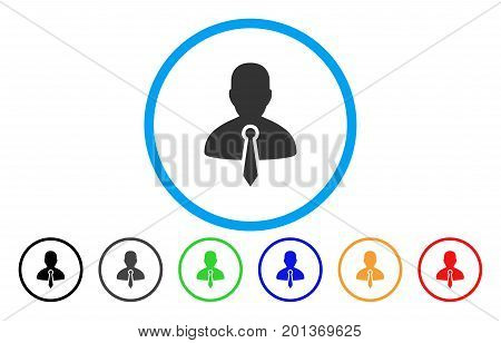 Lawyer vector rounded icon. Image style is a flat gray icon symbol inside a blue circle. Bonus color versions are gray, black, blue, green, red, orange.
