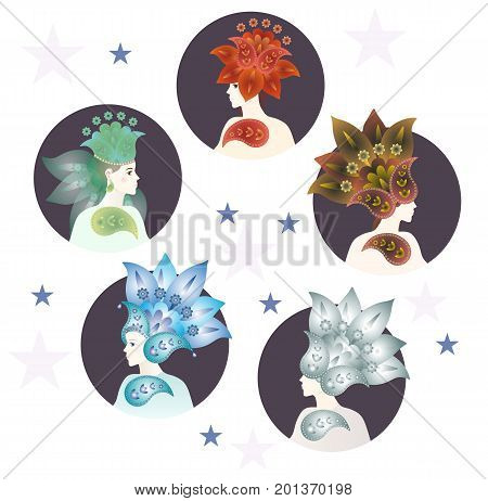 Five fairies symbolizing the elements of feng shui - metal, water, wood, fire, earth. Vector illustration