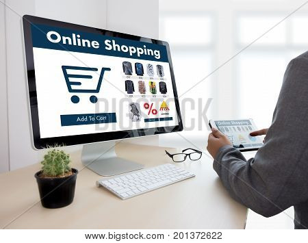 Business People Use Technology Ecommerce Internet Global Marketing Purchasing Plan And Bank Concept