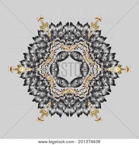 Snowflakes pattern. Vector illustration. Flat design of snowflakes isolated on colorful background. Snowflake ornamental pattern. Snowflakes background.