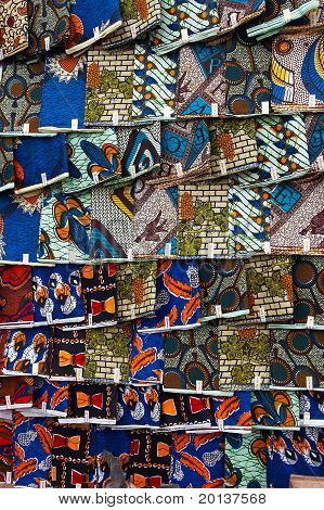 African textiles on a market