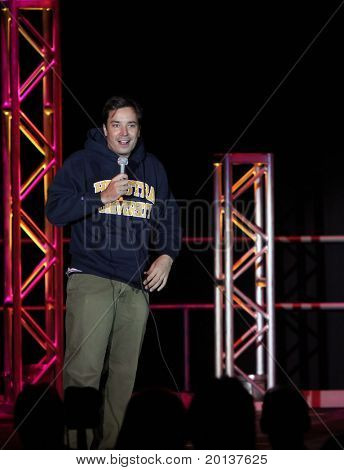 UNIONDALE, NY - SEPTEMBER 25: Comedian Jimmy Fallon performs at the 75th Anniversary Celebration at Hofstra University on September 25, 2010 in Uniondale, NY.