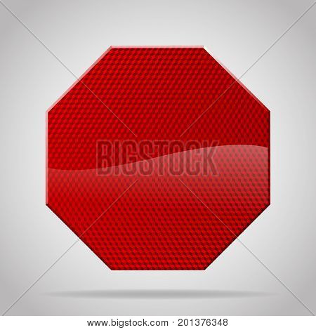 Red reflective warning octagon sign