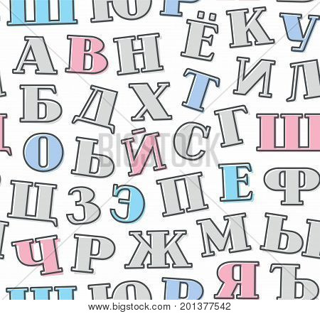 Gray letters, Russian alphabet, background, seamless, white, vector. Grey, blue and pink letters with serifs on a white background. Thin dark grey outline on the letters is offset to the side.