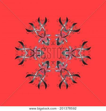 Flat design of snowflakes isolated on colorful background. Snowflakes background. Vector illustration. Snowflakes pattern. Snowflake ornamental pattern.