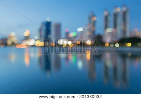 Blue twilight night view city blurred boke light with reflection abstract background