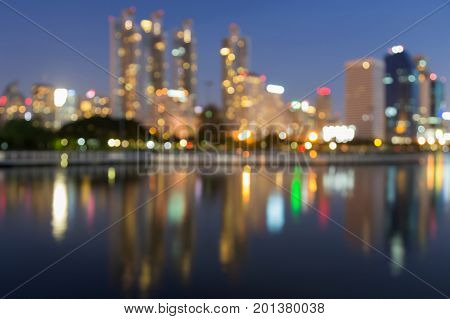 Reflection light city downtown blurred bokeh abstract background
