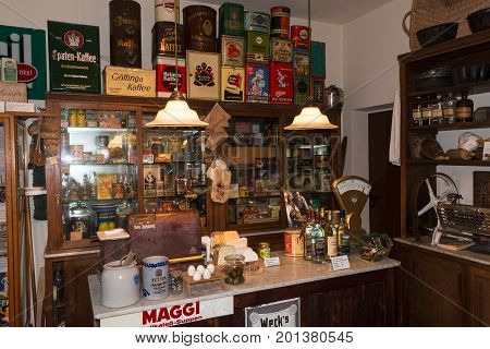 HEILIGENHAUS NRW DEUTSCHLAND - DECEMBER 18 2016: Old historical department store with antique merchandise assortment.