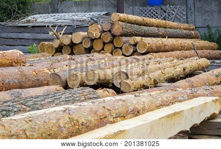 Sawmill. Warehouse timber stack of Logs of pine for sawing beams boards lumber outdoors