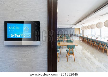 smart screen on wall in modern cafeteria