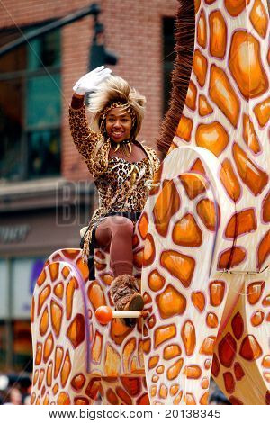 NEW YORK - NOVEMBER 25: A parade participant attends the 84th Macy's Thanksgiving Day Parade on November 25, 2010 in New York City.
