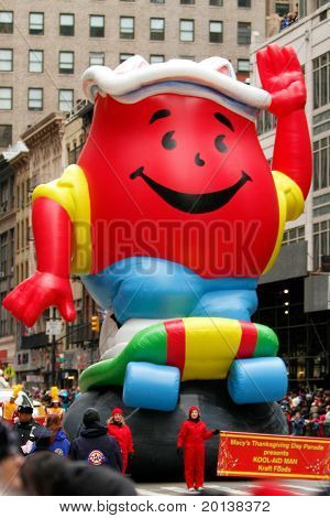 NEW YORK - NOVEMBER 25: The Kool-Aid float appears in the 84th Macy's Thanksgiving Day Parade on November 25, 2010 in New York City.