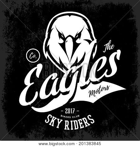Vintage furious eagle bikers gang club vector logo concept isolated on black background.  Street wear mascot badge design. Premium quality wild bird emblem t-shirt tee print illustration.