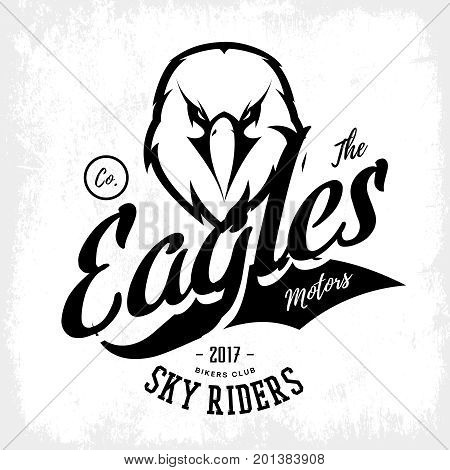 Vintage furious eagle bikers gang club vector logo concept isolated on white background.  Street wear mascot badge design. Premium quality wild bird emblem t-shirt tee print illustration.
