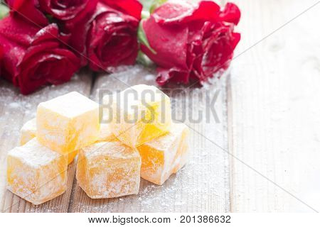 Delicious Turkish Delight With Rose Flower